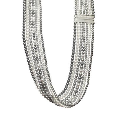 Multi-Strand necklace of pearls Swarovski gray and light gray