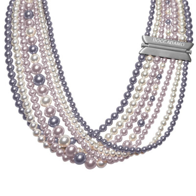 Multi-Strand necklace with drapery of Swarovski beads mauve, Rosaline and white