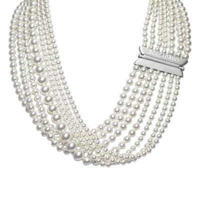 Multi-Strand necklace with drapery of Beads Swarovski white