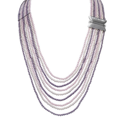 Necklace with wires degradè of Swarovski beads mauve, Rosaline and white