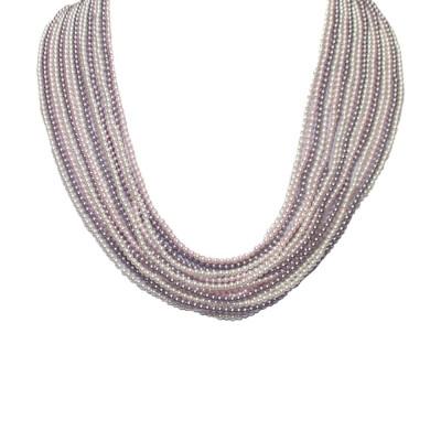 Multi-Strand necklace degradè of Swarovski beads mauve, Rosaline and white