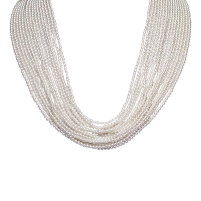 Multi-Strand necklace degradè of Beads Swarovski white