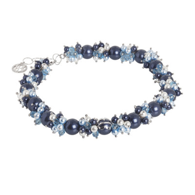 Necklace with a bouquet of Swarovski pearls with blue and zircon nuances