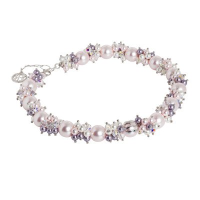 Necklace with a bouquet of Swarovski pearls in shades of purple and zircons