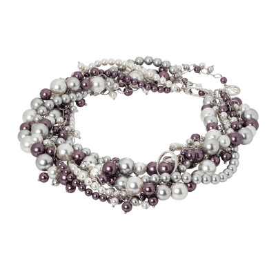 Necklace with strands of burgundy and silver intertwined pearls and zircons