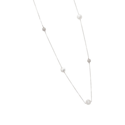 Silver necklace with Swarovski pearls, diamond spheres and zircons