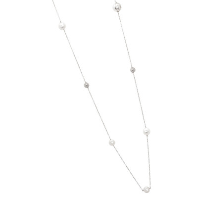 Long necklace with Swarovski pearls, diamond spheres and zircons