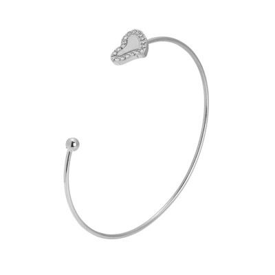 Rigid open bracelet with heart