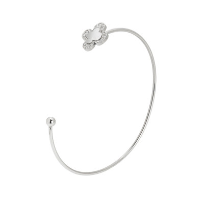 Open rigid bracelet with four-leaf clover