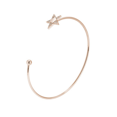 Rigid open bracelet with pink star