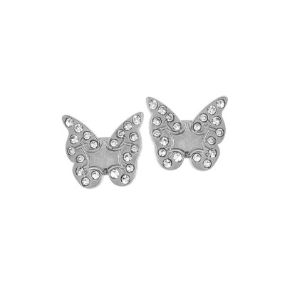 Rhodium-plated lobe earrings with butterfly
