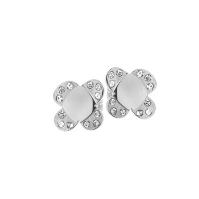 Rhodium-plated lobed earrings with four-leaf clover