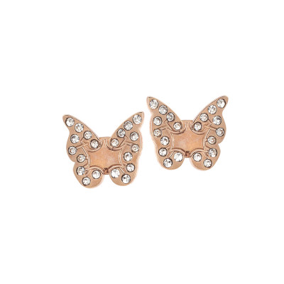 Pink lobe earrings with butterfly