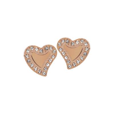 Pink lobe earrings with heart