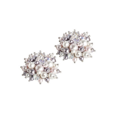 Earrings with a bouquet of crystals and Swarovski beads