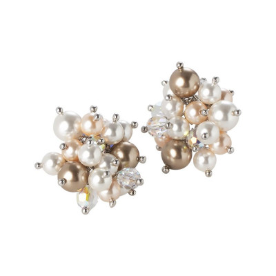 Earrings with a bouquet of crystals and Swarovski beads from gold tones