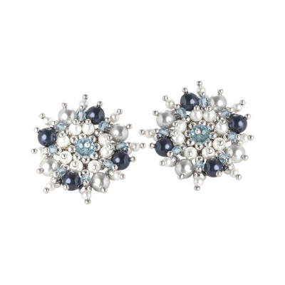 Earrings with flower of pearls and Swarovski crystals from the blue tones