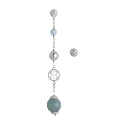Asymmetric earrings with Swarovski beads gray and amazzonite