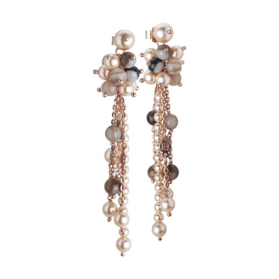 Earrings Pendant with a sprig of Swarovski beads peach and stone mix brown