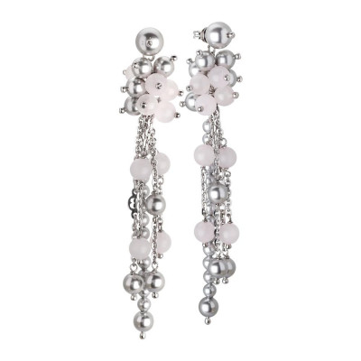 Earrings Pendant with a sprig of Swarovski beads white and pink quartz