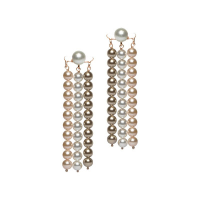 Earrings with wires of Swarovski beads bronze, peach and white