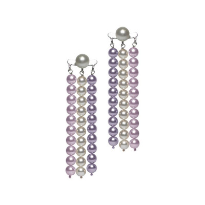 Earrings with wires of Swarovski beads mauve, Rosaline and white