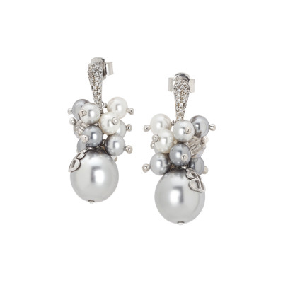 Earrings with a bouquet of gray Swarovski pearls and zircons