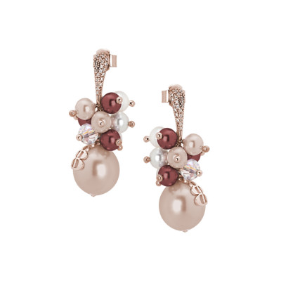 Earrings with bouquets of Swarovski pearls with burgundy and zirconia shades