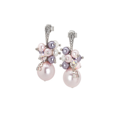 Earrings with a bouquet of Swarovski pearls in shades of purple and zircons