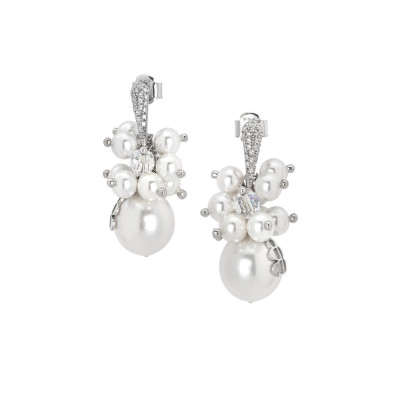 Earrings with a bouquet of white Swarovski pearls and zircons