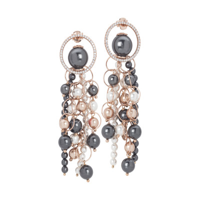 Rose earrings with strings of dangling pearls and zircons