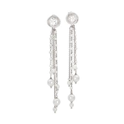 Silver earrings with strings of Swarovski dangling pearls