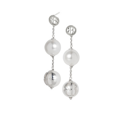Dangle earrings with white Swarovski pearls and zircons