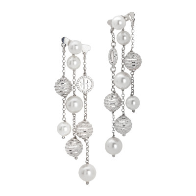 Earrings with strings of dangling pearls, diamond spheres and zircons