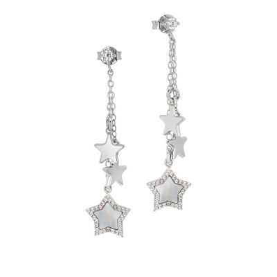 Earrings with a tuft of stars pendant