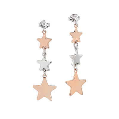 Dangle earrings with bicolor stars