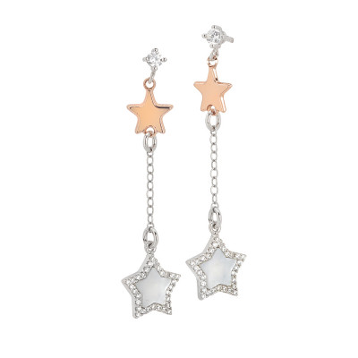 Drop earrings with bicolor stars, mother of pearl and zircons