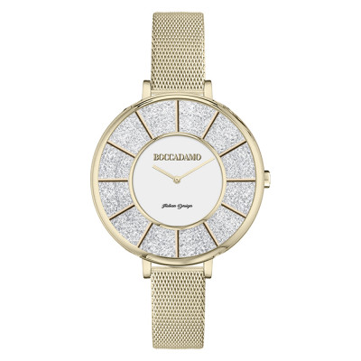 Gold watch in mesh and dial with Swarovski pavé