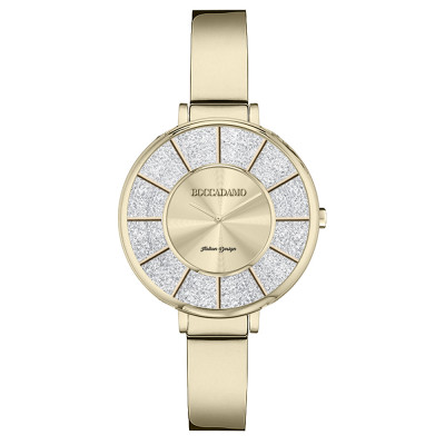 Gold watch with semi-rigid strap and Swarovski dial