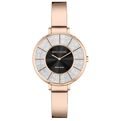 Rose gold watch with semi-rigid strap and Swarovski dial
