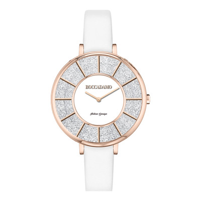 Watch with white leather strap and dial with Swarovski pavé