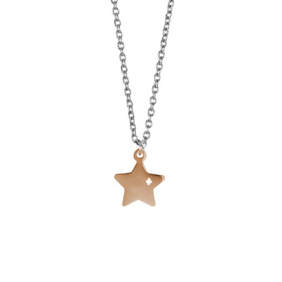 Steel necklace with pendant pink star