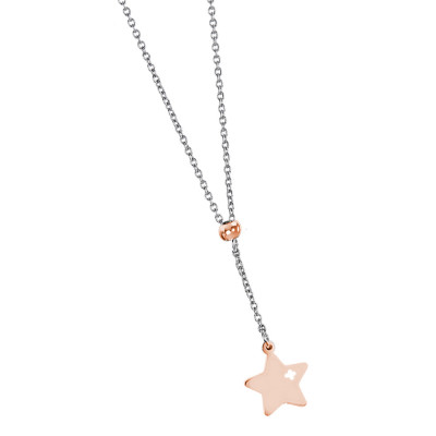 Necklace with pink perforated pendant