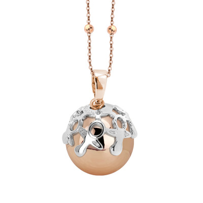 Rosé necklace with sonorous pendant and rhodium-plated cup decorated with pacifiers