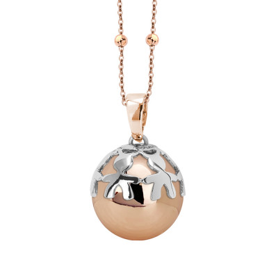 Rosé necklace with sonorous pendant and rhodium-plated cup decorated with children