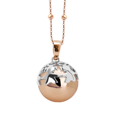 Rosé necklace with sonorous pendant and rhodium-plated cup decorated with girls