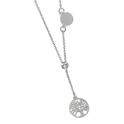 Pendant necklace with side medal and tree of life