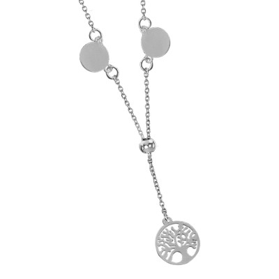 Pendant necklace with side medals and tree of life