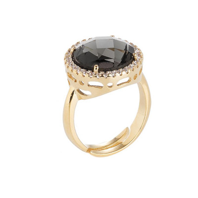 Ring with crystal smoky quartz