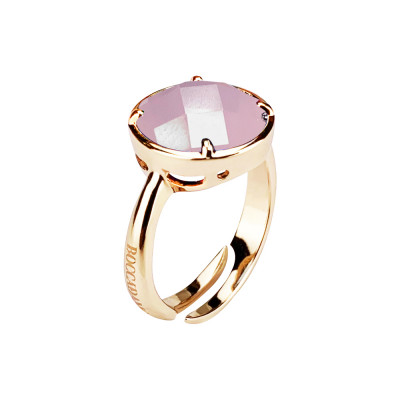 Plated ring yellow gold with pink quartz milk